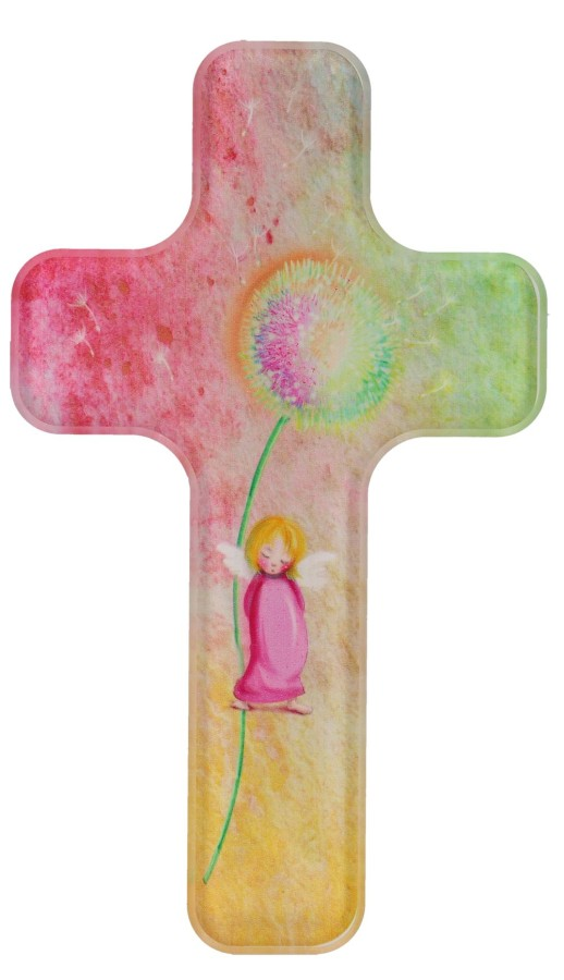 Acrylglas-Kinderkreuz - Pusteblume mit Engel