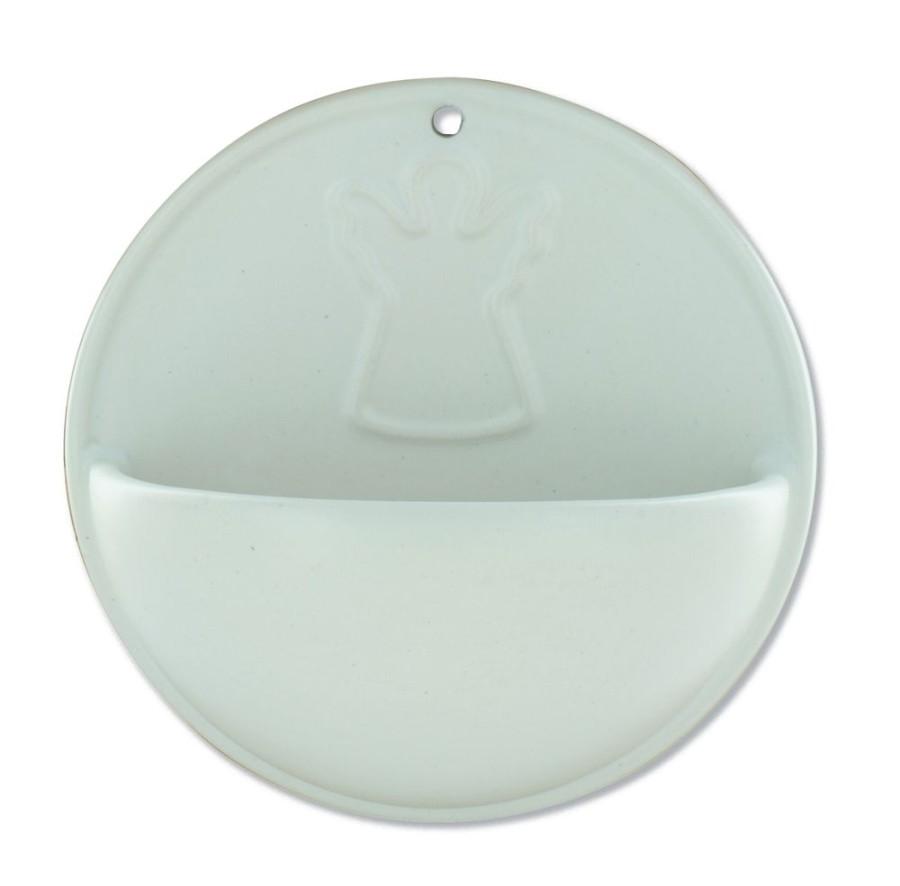 Keramik-Weihwasserbecken Engel - weiß