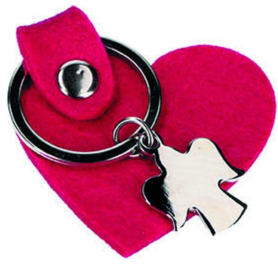 Schlüsselanhänger Herz aus pinkem Wollfilz