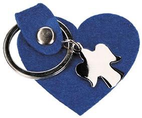 Schlüsselanhänger Herz aus königsblauem Wollfilz