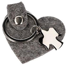 Schlüsselanhänger Herz aus graumeliertem Wollfilz