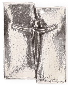 Kreuzplakette mit Korpus aus Neusilber