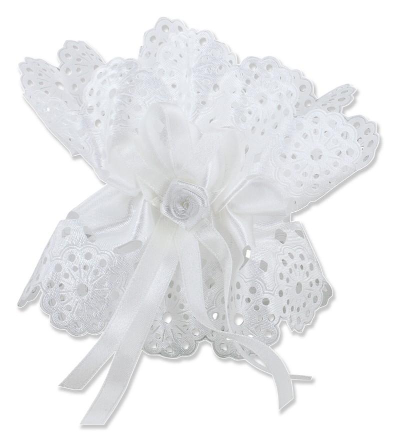 Kerzentropfschutz mit Schleife und weißer Rose