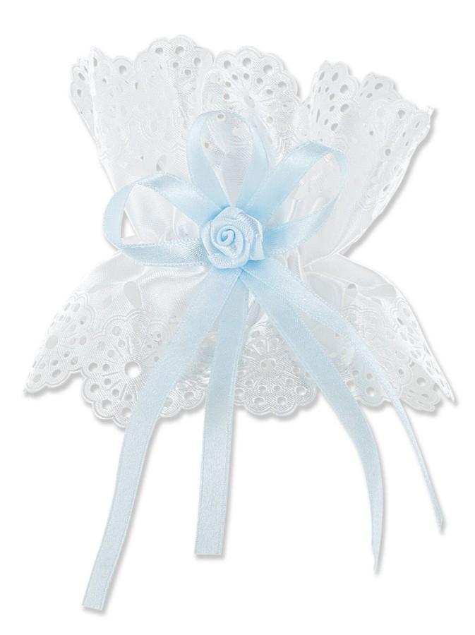 Kerzentropfschutz mit Schleife und blauer Rose