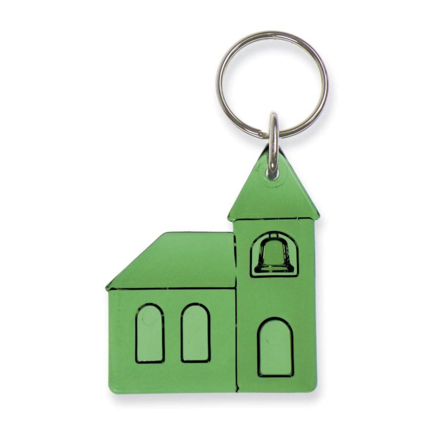 Schlüsselanhänger Kirche grün