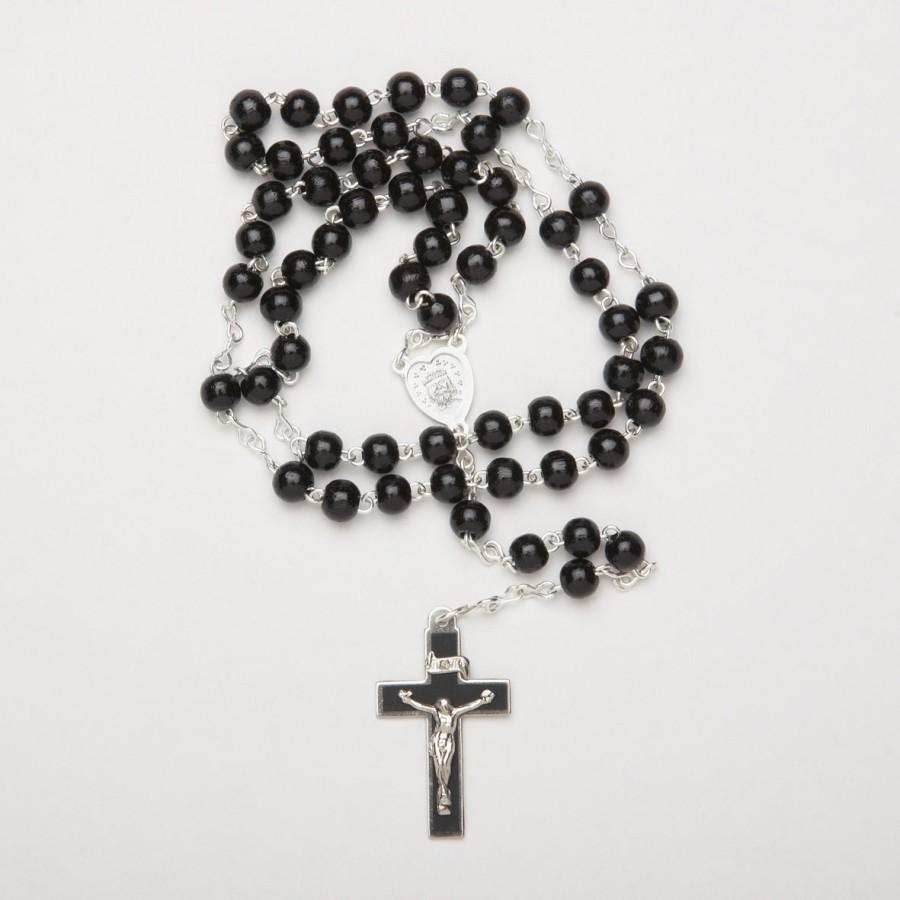 Holz Rosenkranz mit dunkelbraunen Perlen und Holzkreuz