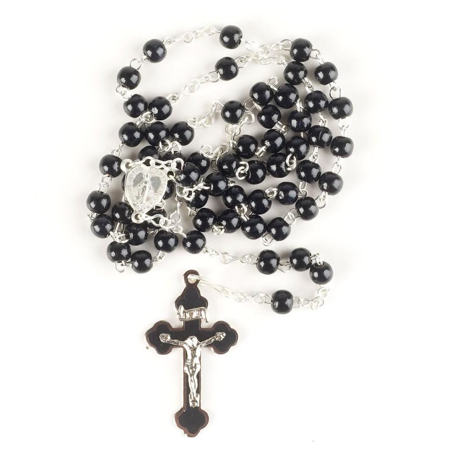 Rosenkranz aus Kunststoff mit schwarzen Perlen