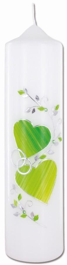 Hochzeitskerze mit aufgelegtem Wachsmotiv Herzen und Ringe