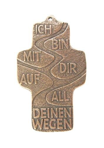 Spruchkreuz Bronze | Ich bin mit dir auf all deinen Wegen