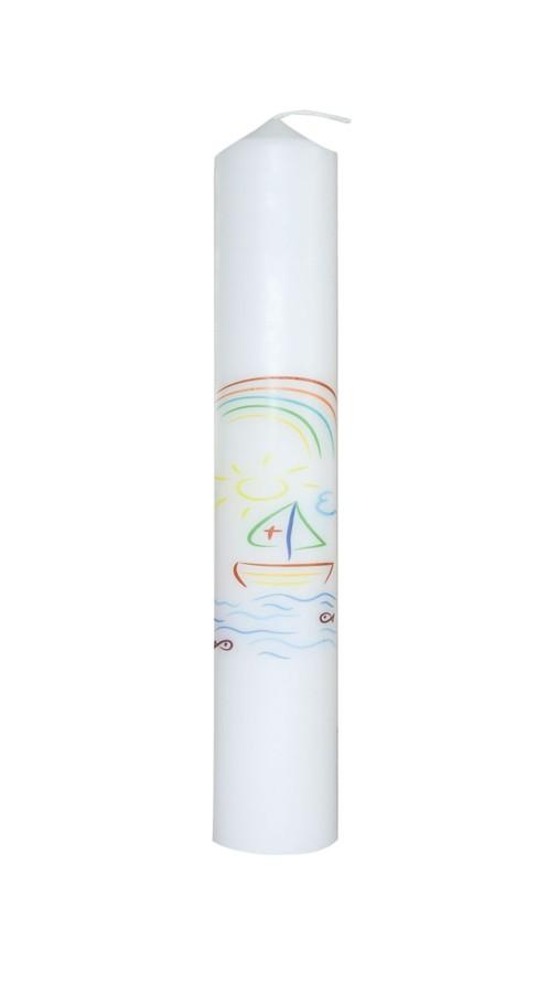 Taufkerze mit Symbolen Schiff, Welle, Fische