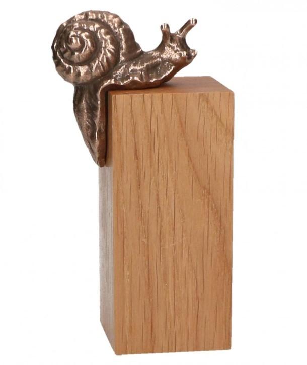 Schnecke Bronze auf Holzsockel