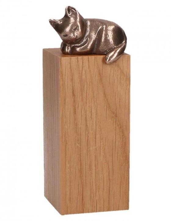 Katze Bronze auf Holzsockel