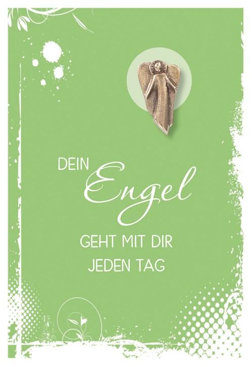 Klappkarte mit Bronze-Engel Dein Engel geht mit dir jeden Tag