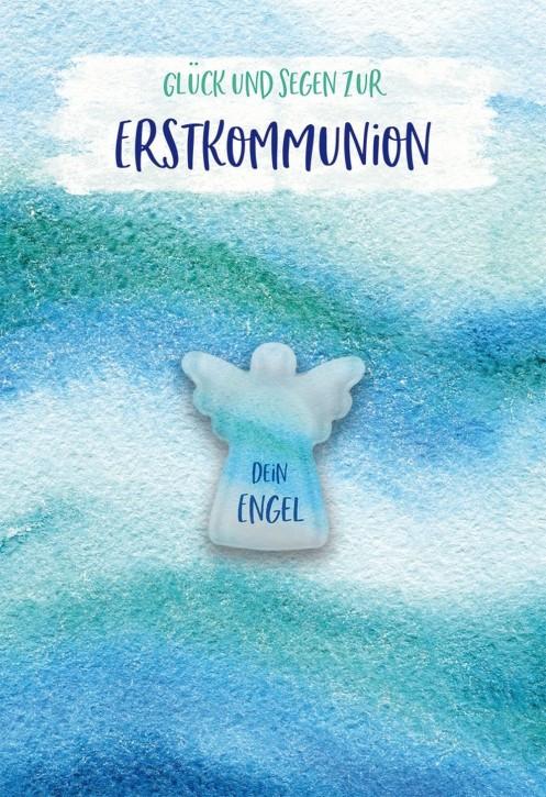 Glückwunschkarte mit Glasmagnet Glück und Segen zur Erstkommunion