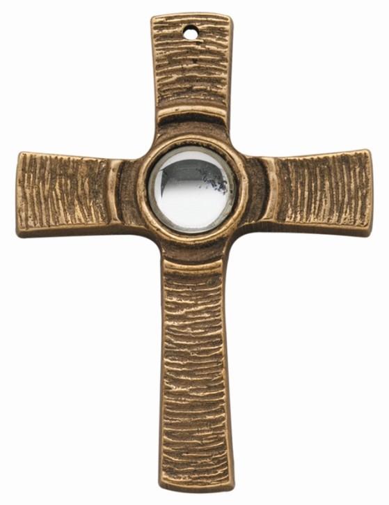 Kommunionkreuz - Bronzekreuz mit klarem Stein