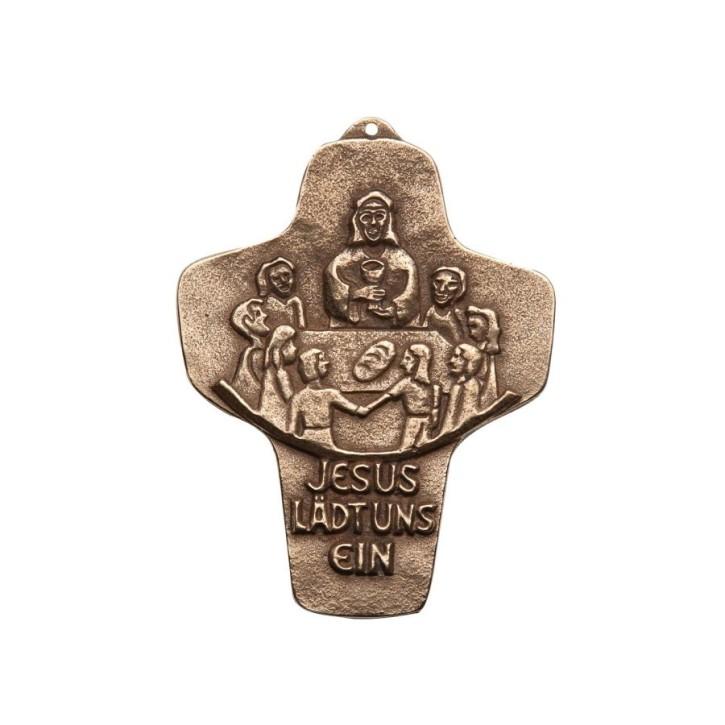 Kommunionkreuz - Bronzekreuz Jesus lädt uns ein