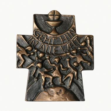 Zur Kommunion: Bronzekreuz Gehet hin in alle Welt