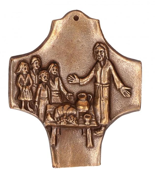 Kommunionkreuz aus Bronze Kommt und seht