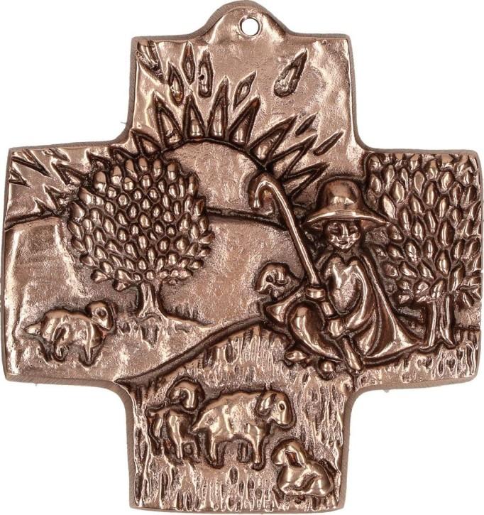 Kommunionkreuz aus Bronze - Guter Hirte