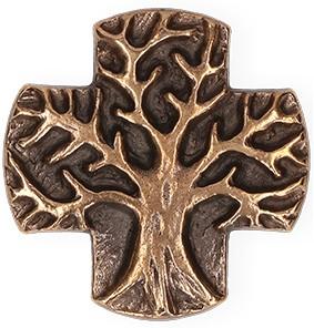 Kreuzplakette aus Bronze Lebensbaum