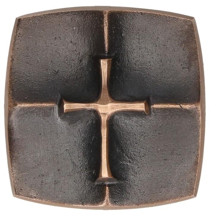 Kreuzplakette aus Bronze - Kreuz