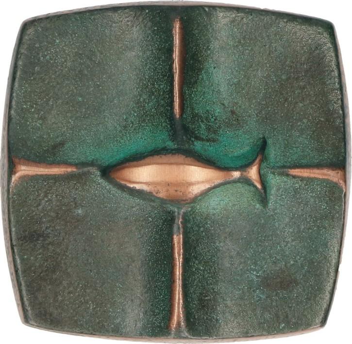 Kreuzplakette aus Bronze mit Fisch - Ich bin bei dir