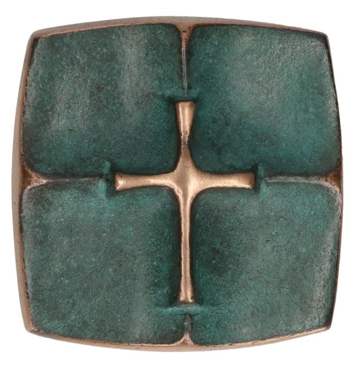 Kreuzplakette aus Bronze mit Kreuz