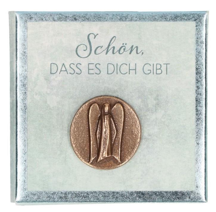 Engel-Plakette aus Bronze - Schön, dass es dich gibt