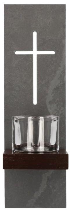 Schieferstele mit Glaseinsatz Kreuz