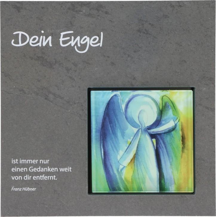 Schieferrelief mit Glaseinsatz Dein Engel
