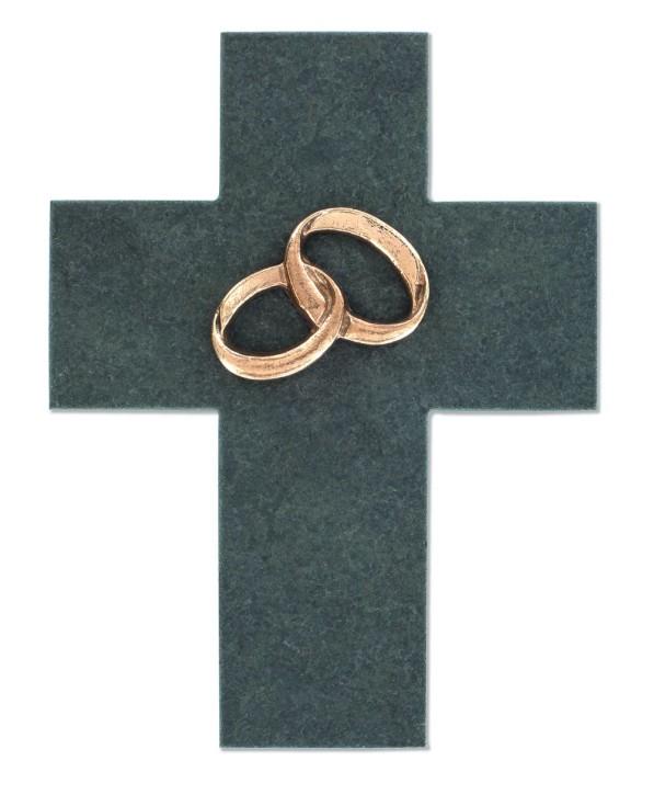 Schieferkreuz Ehe - mit Ringen aus Bronze