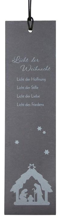 Schieferrelief Weihnachten - mit Lederband zum Aufhängen