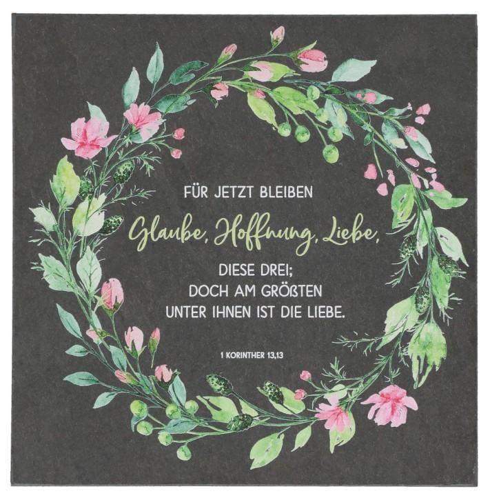 Schieferrelief - Glaube, Hoffnung, Liebe