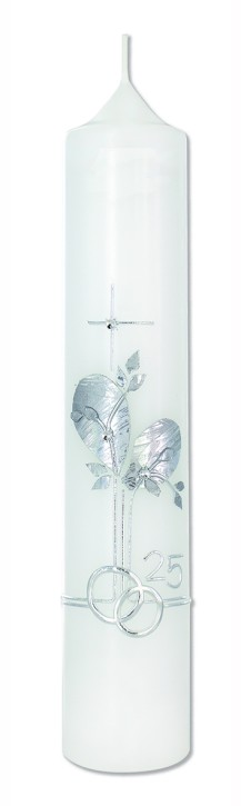 Ehejubiläumskerze Kreuz, Blätter und Ringe - Zur Silberhochzeit