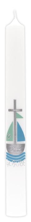 Taufkerze mit Wachsmotiv Kreuz und Schiff
