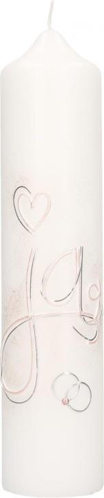 Hochzeitskerze mit Wachsmotiv JA mit Herz und Ringe in Silber