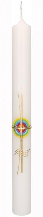 Taufkerze mit Wachsmotiv Regenbogenkreis mit Kreuz und Wellen in Gold
