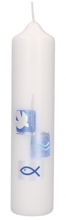 Taufkerze mit Wachsmotiv Taube mit Kreuz in Silber, Fisch und Wellen in Blau