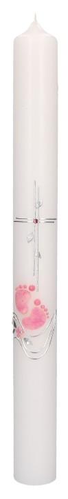Taufkerze mit Wachsmotiv - rosa Füßchen mit Kreuz und Wellen in Silber