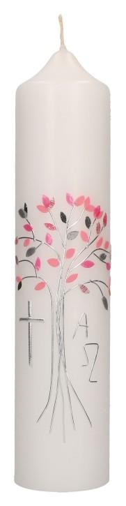 Taufkerze mit aufgelegtem Wachsmotiv - rosa Baum mit Kreuz, Alpha und Omega