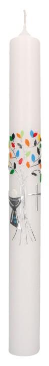 Kommunionkerze mit Wachsmotiv - bunter Lebensbaum mit Kreuz und Kelch in Silber