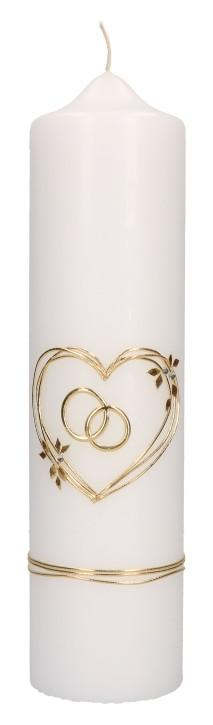Hochzeitskerze mit aufgelegtem Wachmotiv - Herz und Ringe in Gold