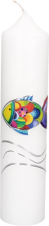 Taufkerze mit aufgelegtem Wachsmotiv - Regenbogenfisch mit Wellen in Silber