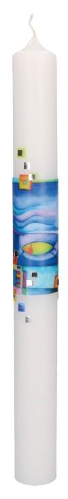 Taufkerze mit aufgelegtem Wachsmotiv - Fisch und Wellen mit Mosaik in Silber