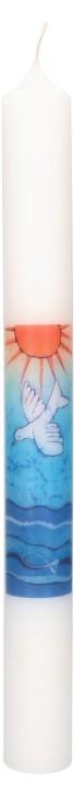 Taufkerze mit Motiv Sonne und Taube