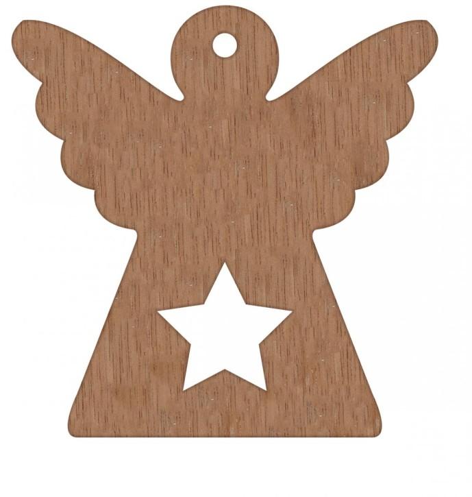 Engel aus Feinholz mit Hanfband zum Aufhängen