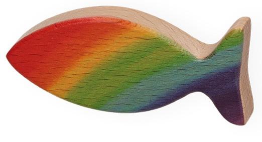 Handschmeichler Regenbogen-Fisch aus Holz