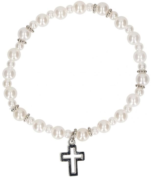 Armband aus weißen Kunststoffperlen mit Kreuz-Anhänger