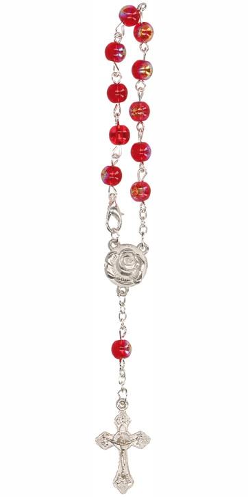 10er Rosenkranz mit roten Glasperlen