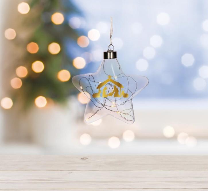 Glasstern mit LED-Lichterkette - Krippe